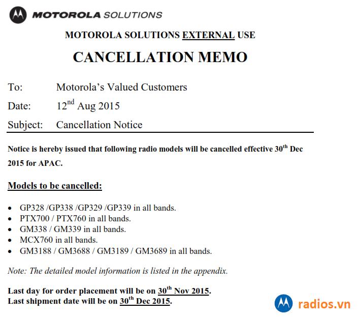 Motorola công bố ngừng một số sản phẩm máy bộ đàm