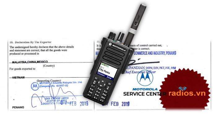 Bộ đàm Motorola chính hãng kèm Chứng nhận CO phòng thương mại nước xuất khẩu, chứng nhận chất lượng CQ nhà sản xuất