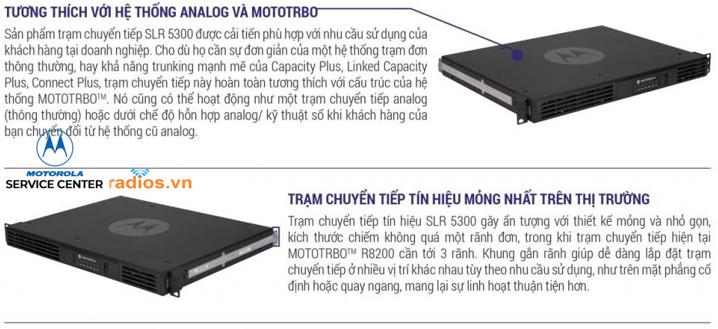 Trạm chuyển tiếp SLR5300 UHF VHF tương thích với các hệ thống trạm lặp analog và các hệ thống bộ đàm kỹ thuật số