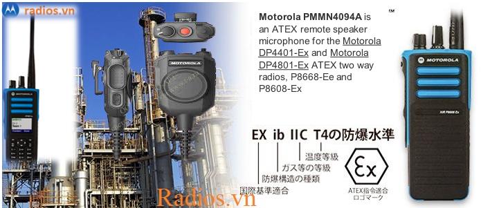 Remote speaker microphone PMMN4094 và PMMN4067 dùng cho bộ đàm chống cháy nổ P8668 Ex và P8608 Ex