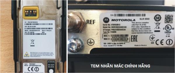 Tem nhan ký mã hiệu ngày tháng năm sản xuât máy bộ đàm Motorola