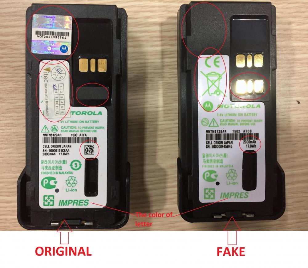 So sánh pin NNTN8129 chính hãng và hàng Fake