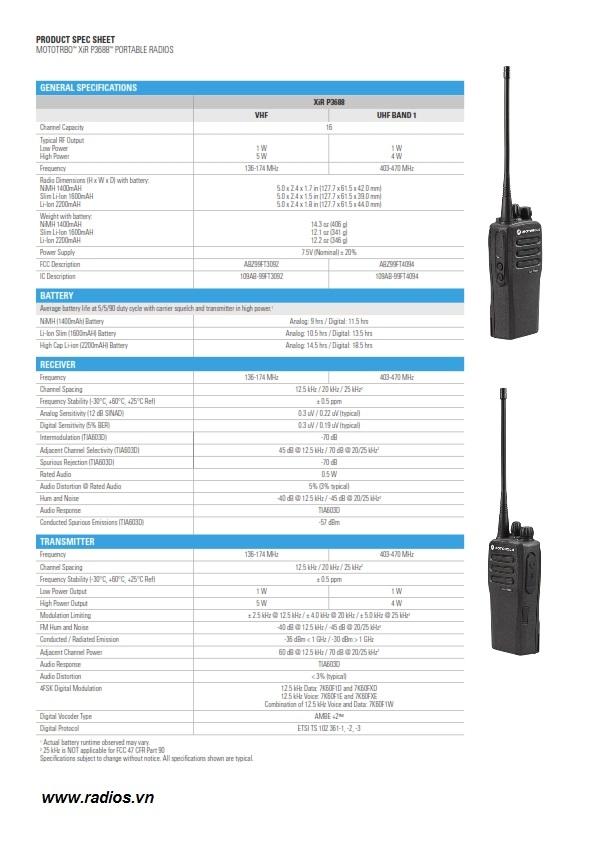 Xir P3688 thông số kỹ thuật